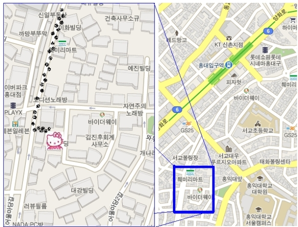 Head out Exit 5 out of Hongdae Station (홍대입구역) on the green line, line #2. Follow the map and you'll find the Hello Kitty Cafe in one of the many alley ways leading up a hill.
