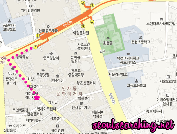O'sulloc (Insadong) Map