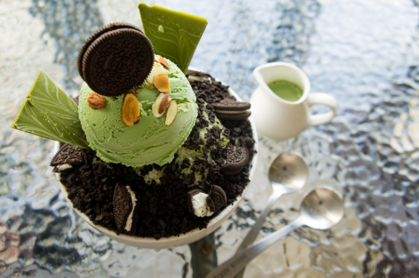 Green Tea Oreo Bingsu Closeup