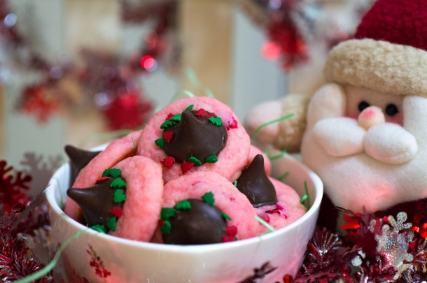 Cherry Chocolate Kiss-Mas Cookies